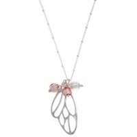 Martick Butterfly Murano Style Pendant Necklace Pink