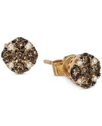 Le Vian Chocolate And White Diamond Stud Earrings 1 2 Ct. T.W. In 14K Yellow Gold