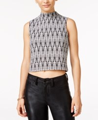 Material Girl Juniors' Printed Mock Neck Crop Top Only At Macy's Black Combo