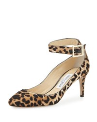 Jimmy Choo Helena Leopard Print Calf Hair Ankle Strap Pump Natural