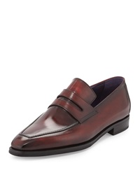 Andy Burnished Leather Loafer Red Berluti