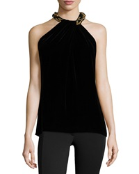 Carmen Marc Valvo Beaded Neck Toga Velvet Top Black
