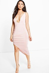 Boohoo Ruched Side Asymmetric Hem Slinky Midi Dress Blush