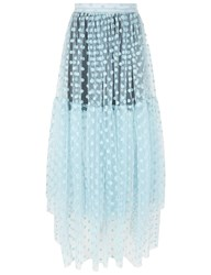 Paskal Blue Flocked Polka Dot Midi Skirt Light Blue