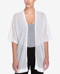 Catherine Malandrino Short Sleeve Sheer Cardigan White