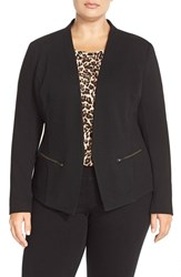 Plus Size Women's Sejour 'Jetsetter' Ottoman Knit Jacket Black