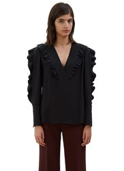 Fendi Ruffled Silk Blouse Black
