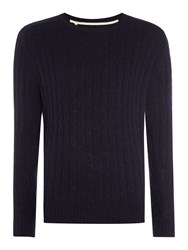 Selected Men's Homme Cable Knit Crew Neck Wool Blend Jumper Dark Navy