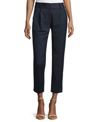 Milly Edie Tapered Gabardine Ankle Pants Navy
