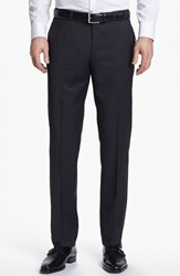 Men's Boss 'Sharp' Flat Front Wool Trousers Charcoal
