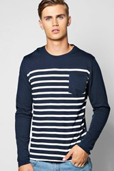 Boohoo Sleeve Stripe T Shirt Navy