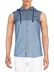 Buffalo David Bitton Seytano Hooded Chambray Sleeveless Shirt Blue Multi