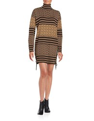 Rachel Zoe Printed Sweater Dress Beige Black Multi