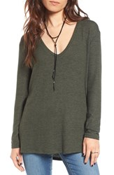 Women's Bp. V Neck Long Sleeve Sweater Olive Burnt
