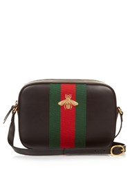 Gucci Line Bee Embroidered Leather Cross Body Bag Black Multi