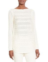 Lauren Ralph Lauren Petite Cable Knit Cotton Sweater Ivory