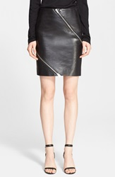 Alexander Wang Diagonal Zip Calfskin Leather Skirt Nocturnal
