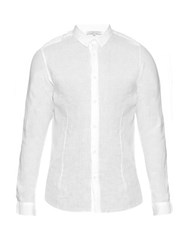 Orlebar Brown Morton Long Sleeved Linen Tailored Shirt White