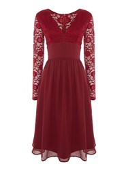 Elise Ryan Long Sleeved Sequin Lace Top Skater Dress Red