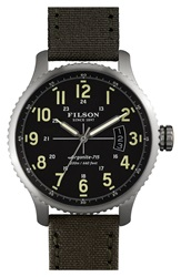 Filson 'The Mackinaw Field' Watch 43Mm Green Black Silver