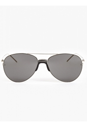 Linda Farrow Men's White Gold Plated Aviator Sunglasses