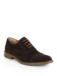 Calvin Klein Suede Cap Toe Oxfords Dark Brown
