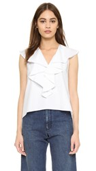 Amanda Uprichard Ruffle Neck Blouse White