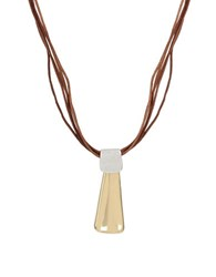 Robert Lee Morris Two Tone Geometric Pendant Cord Necklace
