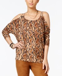 Thalia Sodi Snake Print Cold Shoulder Top Only At Macy's Snake Brown
