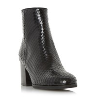 Dune Pitche Reptile Effect Ankle Boots Black