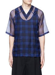 Givenchy Check Silk Organza Shirt Blue