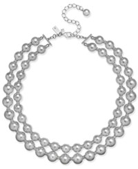 Kate Spade New York Silver Tone Imitation Pearl And Pave Double Strand Collar Necklace Grey