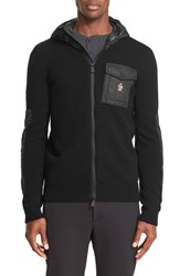 Moncler Men's 'Maglione' Woven Accent Hooded Wool Blend Jacket