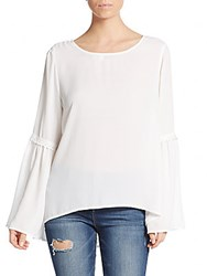 Elan Crochet Trim Bell Sleeve Top Off White