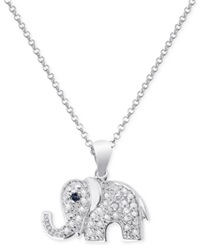 Victoria Townsend Black Diamond Accent Elephant Necklace In Sterling Silver No Color