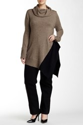 Love Token Cowl Neck Asymmetrical Sweater Plus Size Brown