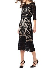 Phase Eight Anna Placement Lace Dress Black
