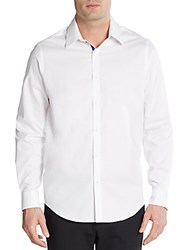 Report Collection Regular Fit Contrast Trim Cotton Sportshirt White