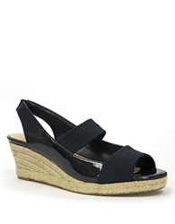 Ellen Tracy Kendall Wedge Sandals Navy Patent