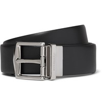 Burberry 3.5Cm Black Cross Grain Leather Belt Black