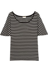 Saint Laurent Striped Silk Jersey T Shirt Black