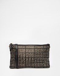 Warehouse Leather Studded Clutch Bag Black