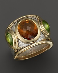 Bloomingdale's Citrine And Peridot Statement Ring In 14K White And Yellow Gold Multi Orange Green