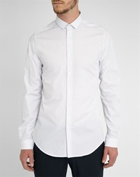 M.Studio White Baptiste Poplin Slim Fit Shirt With Floral Print And Small Stiff Collar