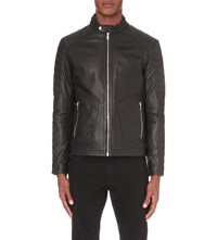 Reiss Native Leather Biker Jacket Black
