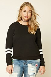 Forever 21 Plus Size Striped Sweatshirt Black Ivory