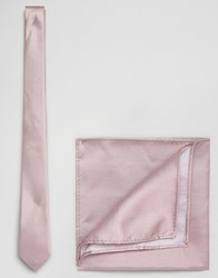 Asos Wedding Silk Tie And Pocket Square In Pink Pink