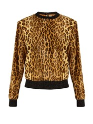 Hillier Bartley Leopard Print Calf Hair Effect Sweater