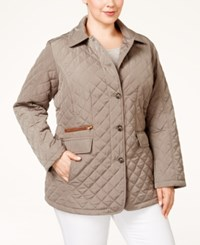Jones New York Plus Size Packable Faux Leather Trim Quilted Barn Jacket Beige