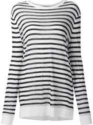Alexander Wang T By Striped Longsleeved T Shirt Blue